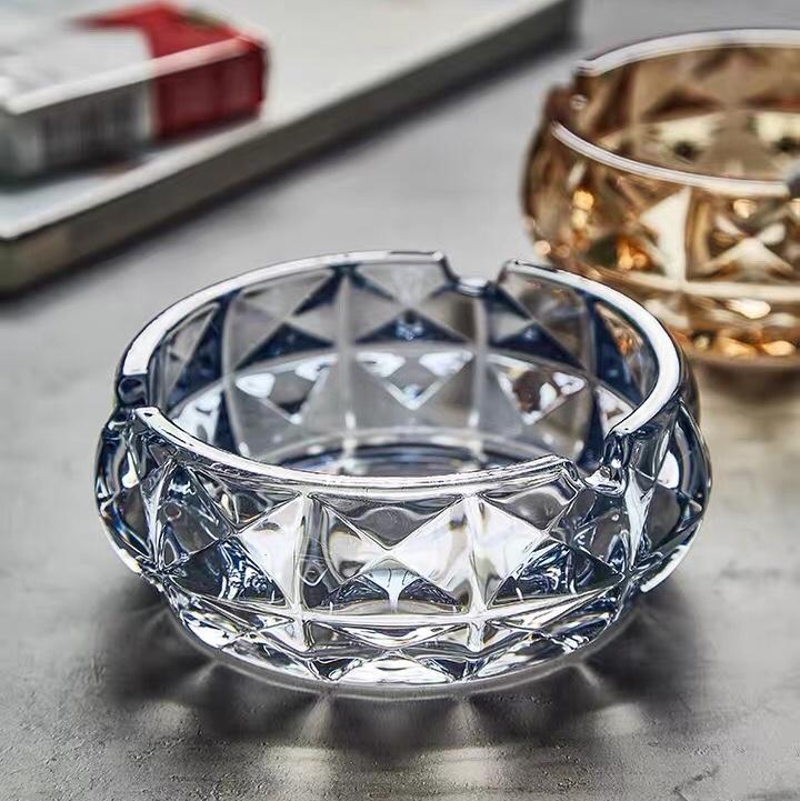 创意水晶玻璃烟灰缸 大号家用欧式电镀个性时尚客厅KTV酒吧烟灰缸