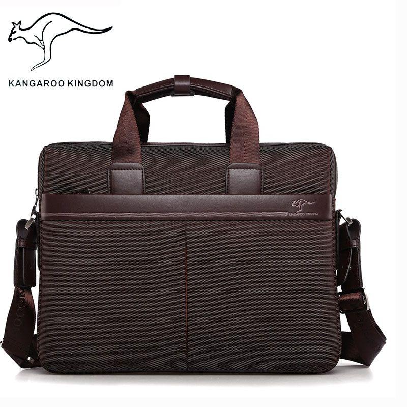 袋鼠男包手提包牛津布公文包男商务电脑包帆布单肩包文件包