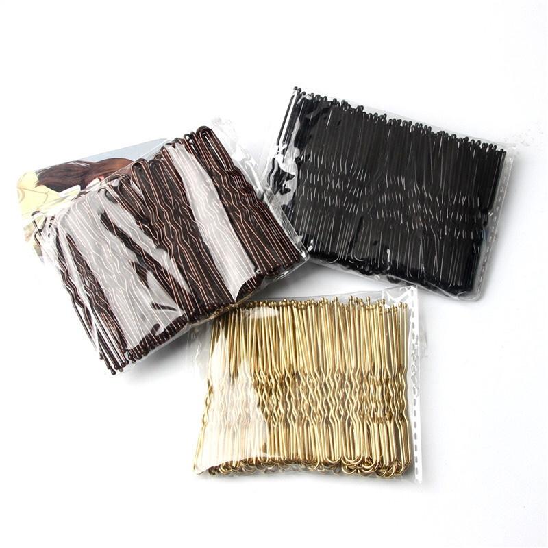 欧美跨境U型夹发夹头饰发钗金色黑色基础盘发夹子钢夹发卡头饰品