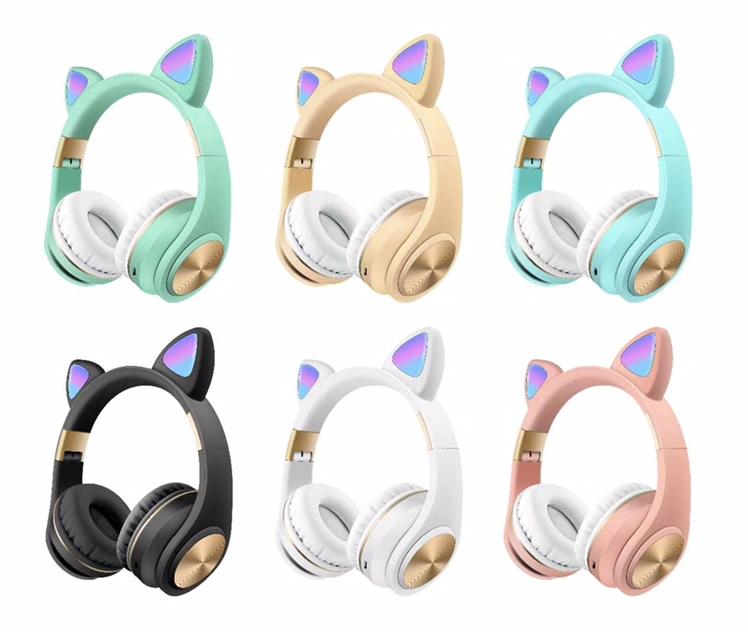 唐卡新款猫耳发光蓝牙耳机M1小可爱清新马卡龙无线耳麦M1