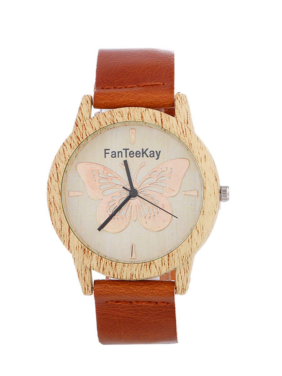 厂家直销仿木纹男女通用腕表皮带手表蝴蝶石英表一件代发