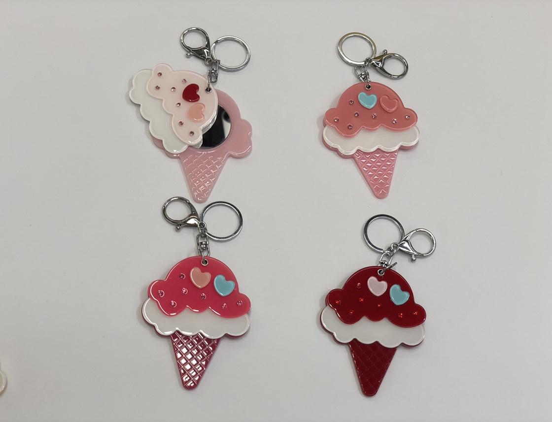 韩版创意亚克力钥匙扣果冻色冰淇淋可爱女士包包钥匙挂件定制礼品义乌饰品厂家直销汽车钥匙扣
