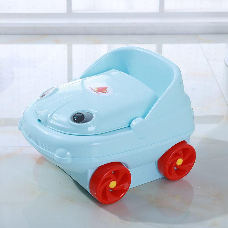 现货儿童座便器卡通小汽车带轮子便盆便携式塑料便槽8031