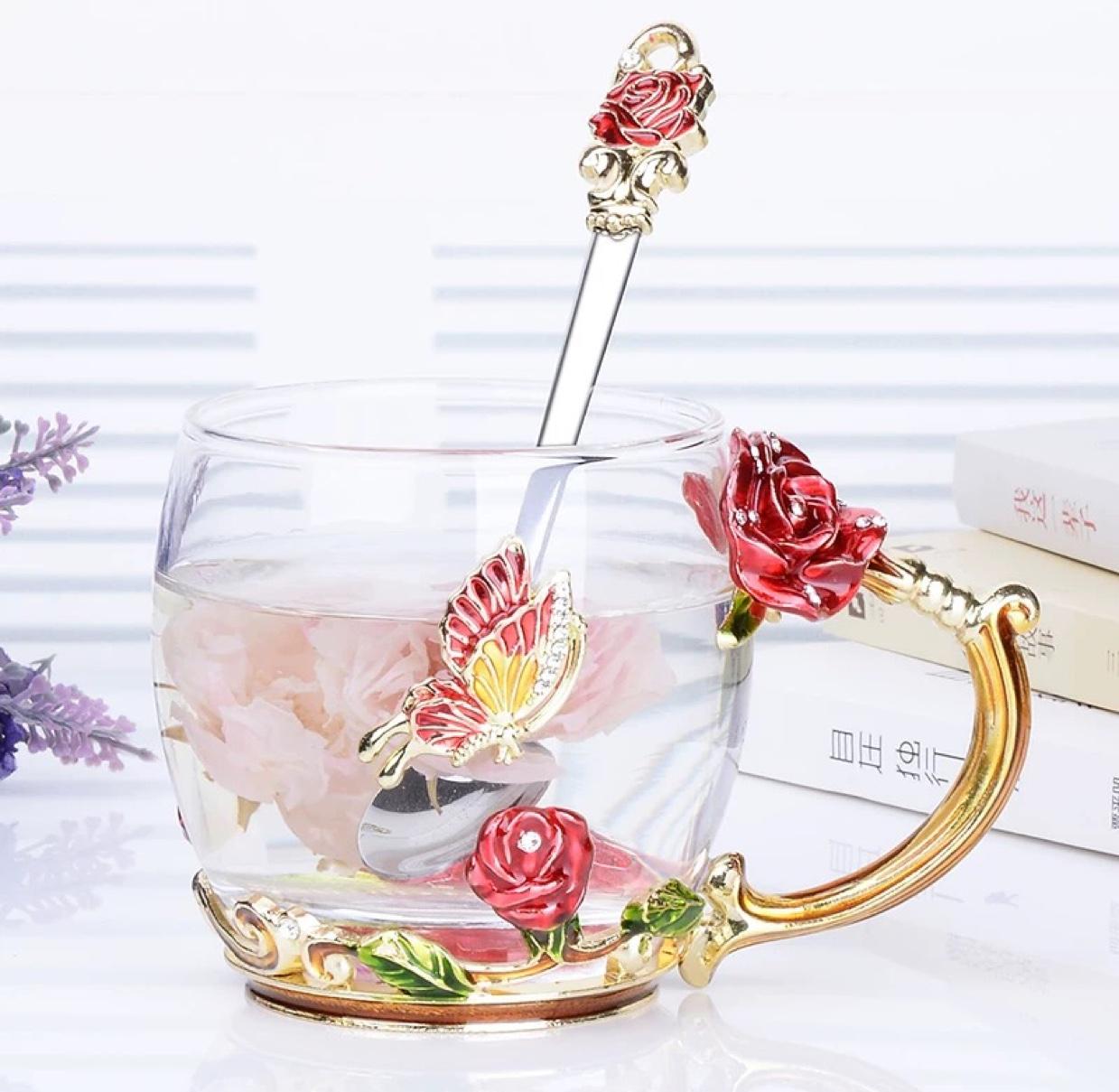 红玫瑰珐琅彩水杯