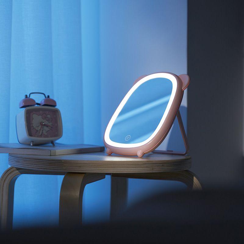 直销USB通电桌面带灯补光镜便携式公主镜折叠梳妆镜镜子