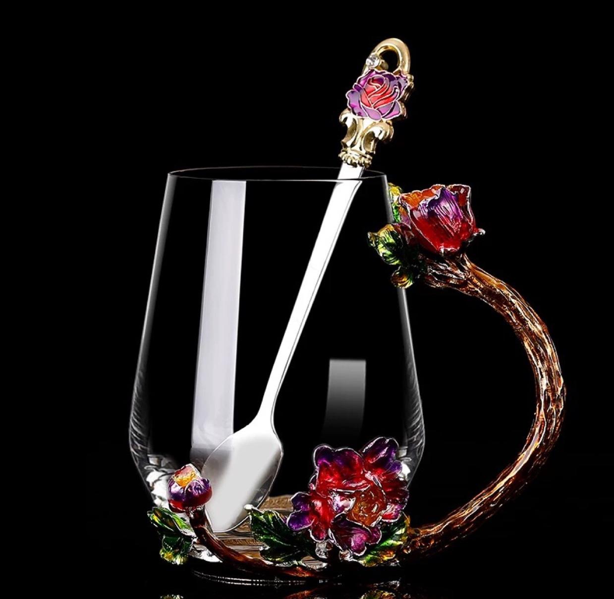红牡丹珐琅彩水杯高宽