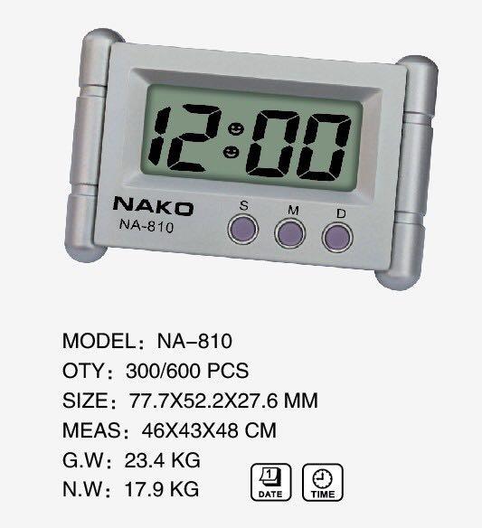 厂家直销 NAKO NA-810 车载电子钟 迷你电子钟 小闹钟