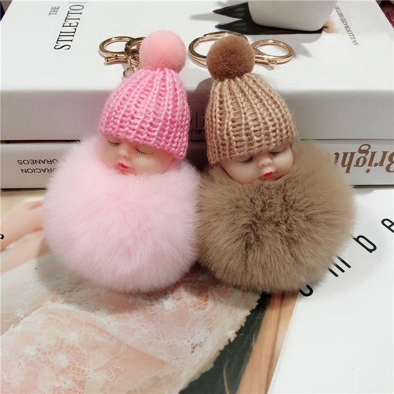 睡萌娃娃毛球挂件 可爱毛绒公仔钥匙扣女士包包挂件汽车挂饰