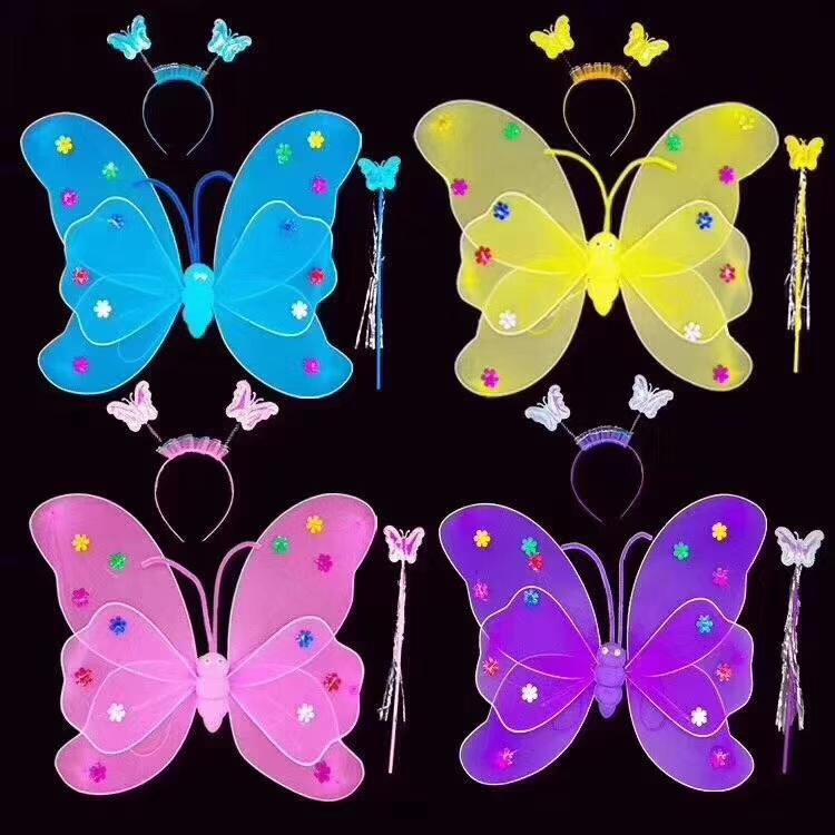 丝袜少儿背饰玩具风筝大翅膀彩色AB料双层大蝴蝶。