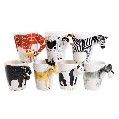 厂家加工定制创意3D动物陶瓷马克杯 情侣款活动礼品水杯广告杯