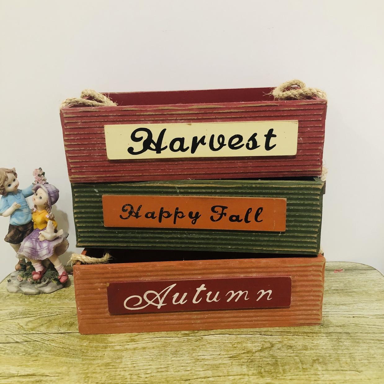 厂家直销新款长方形条纹木质品储物盒种花神器花盘工艺品