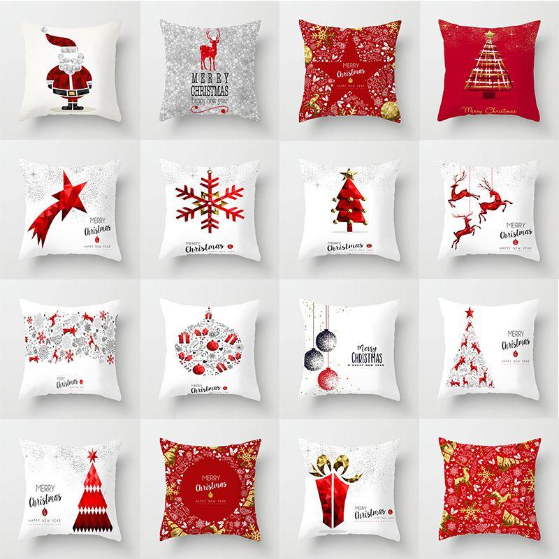 跨境新款圣诞节抱枕套 沙发汽车靠垫靠枕套 超柔家居爆款抱枕套