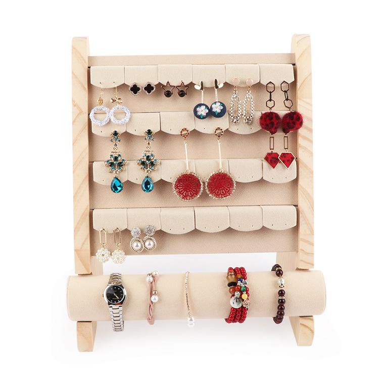 原木绒布原木耳环耳钉架可拆手镯手链手串展示架手表架耳饰品多功能组合架