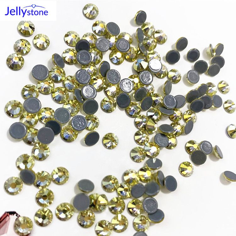 Jellystone精品平底 浅黄AB 烫钻ss8加固胶底辅料耳饰配件厂家