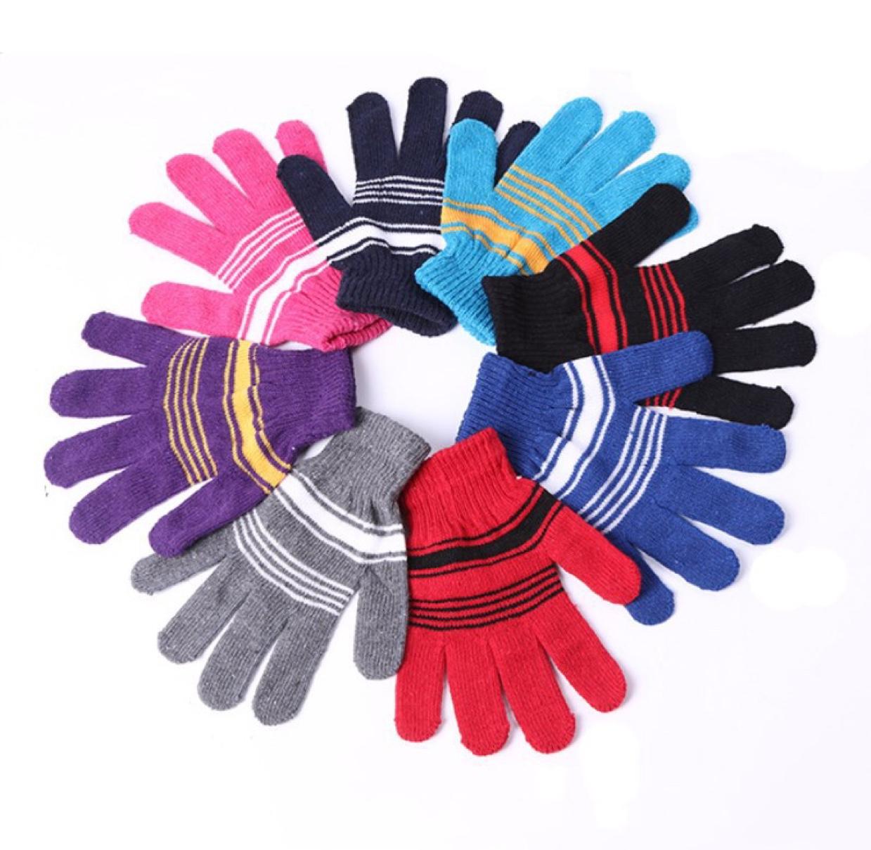 秋冬魔术手套半指全指毛线条纹劳保暖工作防护手套捐赠品男女中童