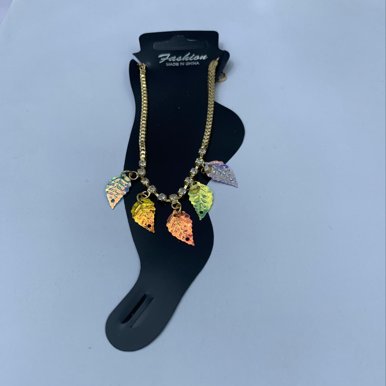 厂家直销烧焊镀金配件脚链—幻彩树叶