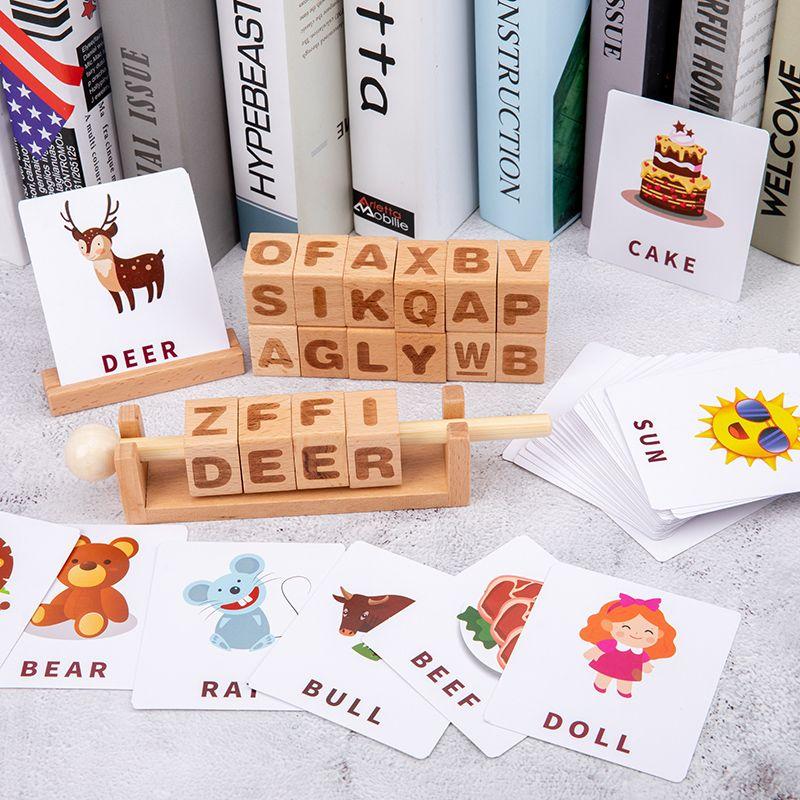数字字母学习串木质益智玩具拼英语单词学数字运算木制儿童玩具