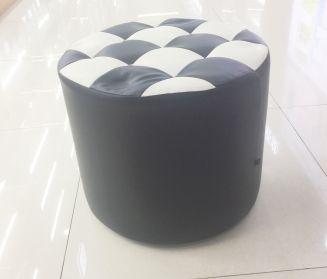 阁莱简约版PU拼色圆柱形木凳室内客厅茶几坐凳批发
