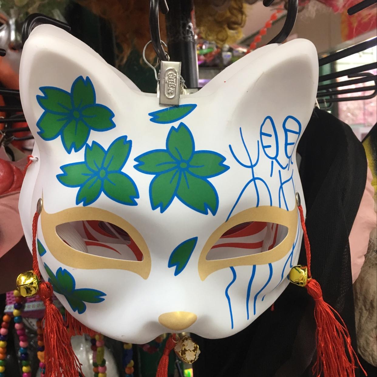 抖音爆款 彩绘面具 动漫猫脸面罩 塑料面具