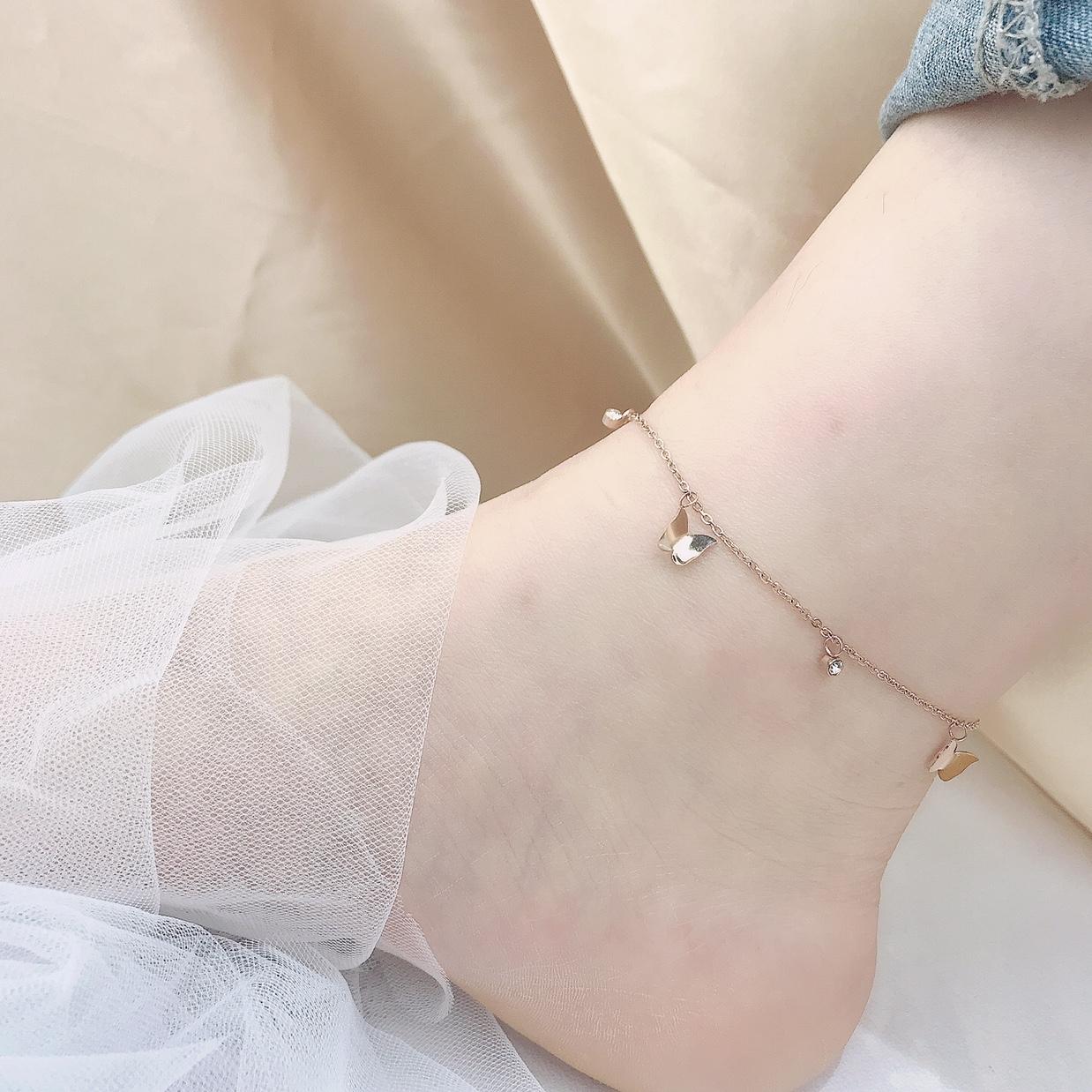经典款蝴蝶要钛钢脚链