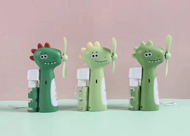 卡通恐龙灯光喷雾降温USB充电风扇学生儿童户外手持便携迷你风扇