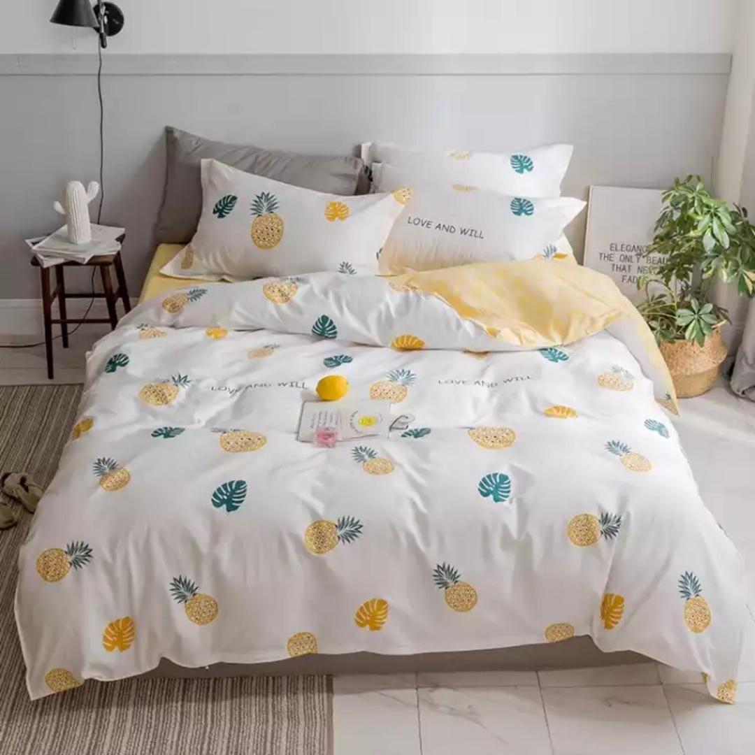 套件家纺 纯棉加厚包边四件套 全棉床上用品床单被套嫣然一笑A绿色