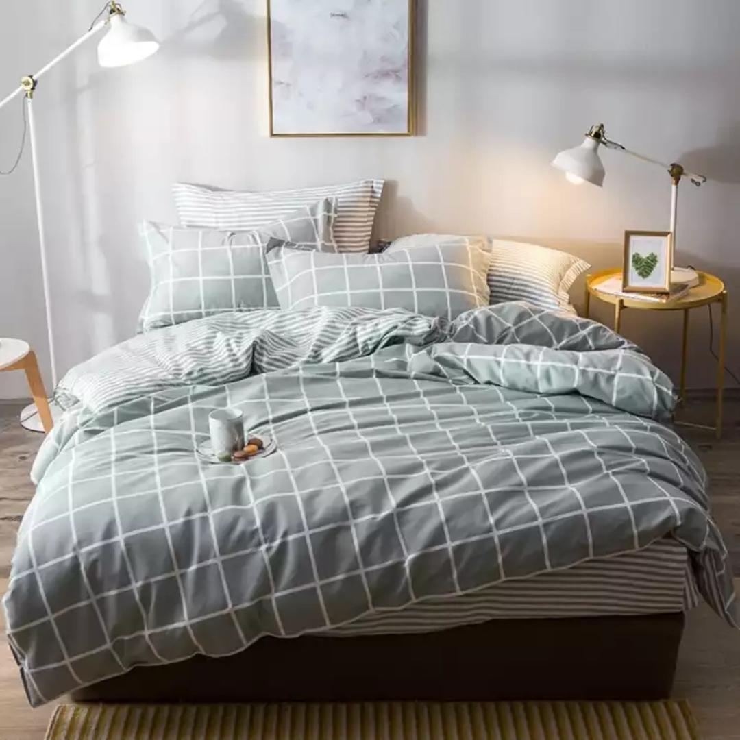 套件家纺 纯棉加厚包边四件套 全棉床上用品床单被套嫣然一笑A黄色
