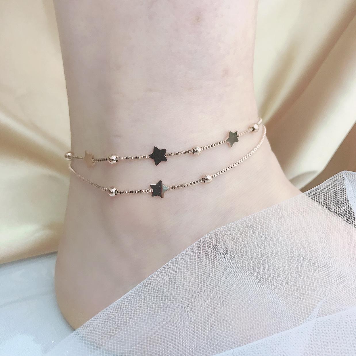 简约五角星钛钢脚链