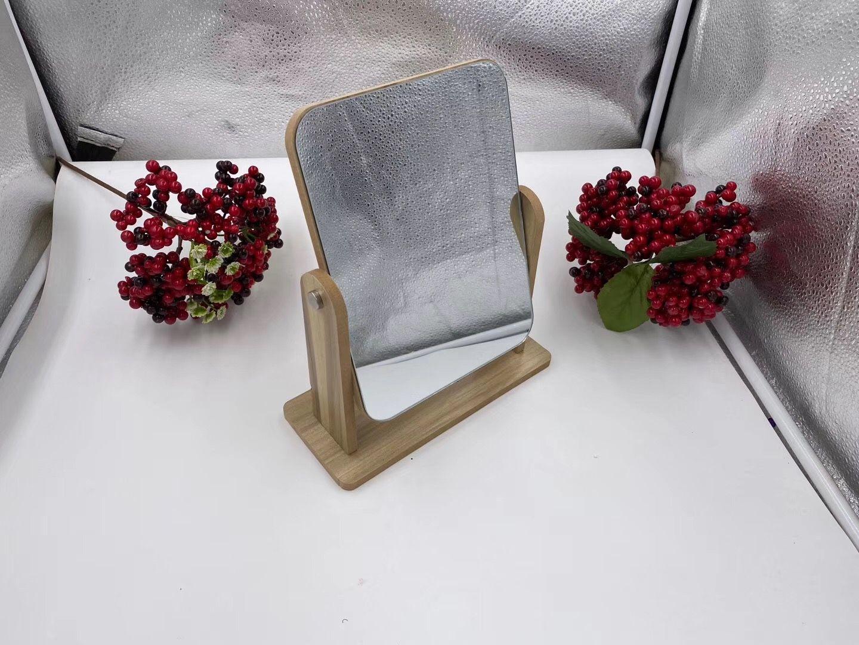 化妆镜台式女网红美妆小镜子桌面便携可拆卸梳妆木镜长方形中号