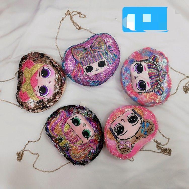 韩版儿童小包包2020新款亮片惊喜娃娃心形女童装饰挎包迷你单肩斜挎包