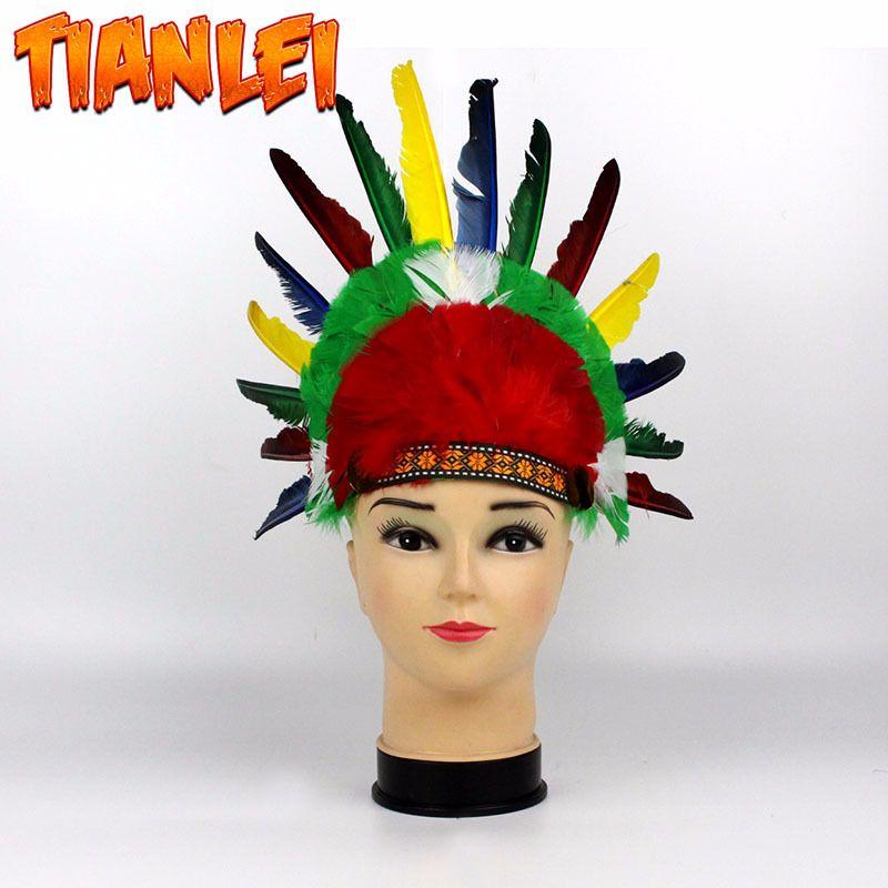 酋长印第安人头饰 野人装扮派对道具 感恩节日表演庆祝羽毛头饰