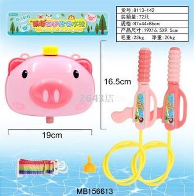 夏季热卖小猪背包水枪儿童单肩挎包斜背抽拉式水枪沙滩戏水玩具