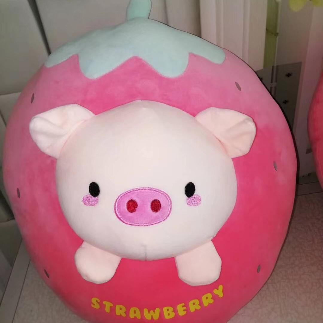 草莓猪头枕