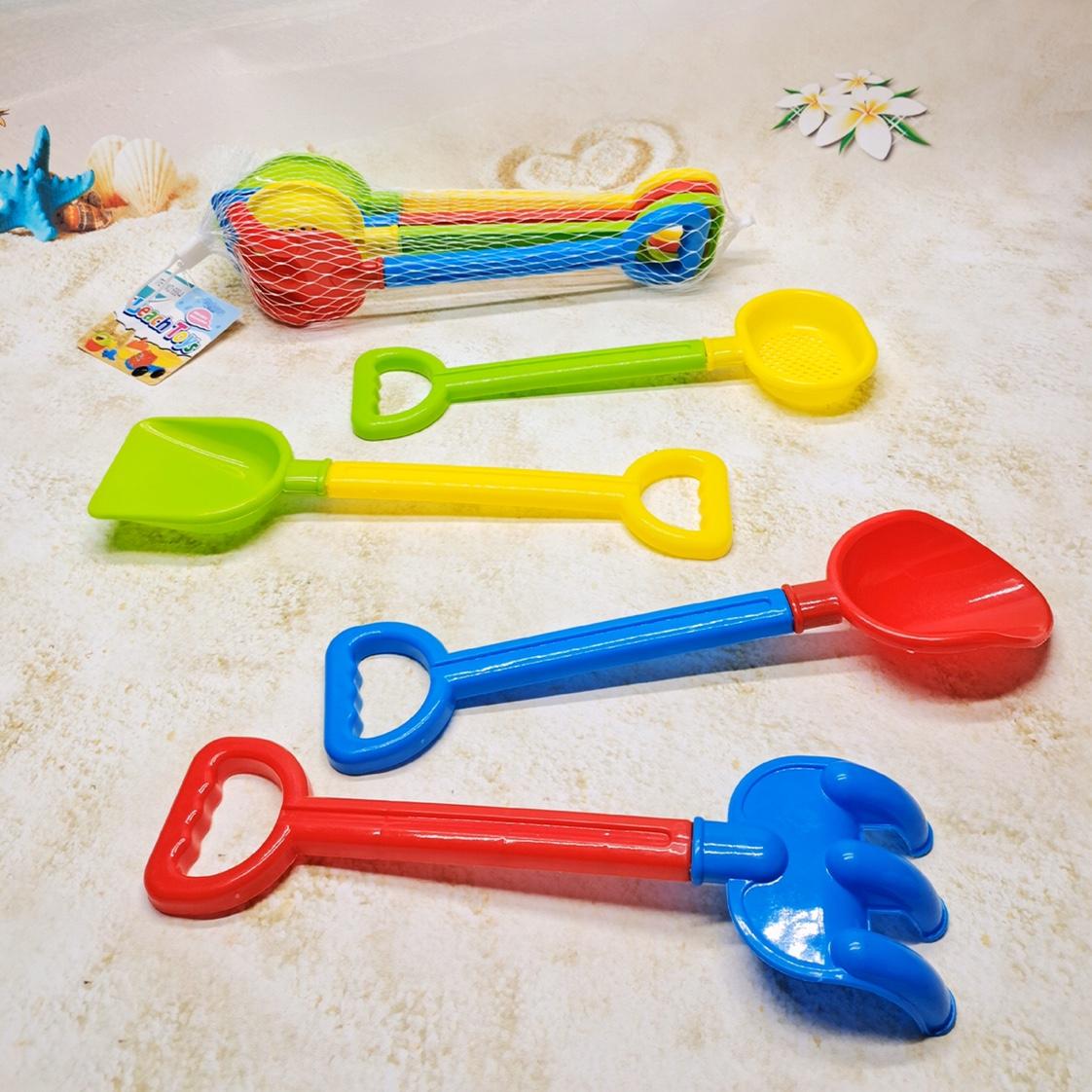 儿童沙滩玩具套装宝宝戏水玩沙男孩大号沙漏挖沙铲子桶工具决明子688-4