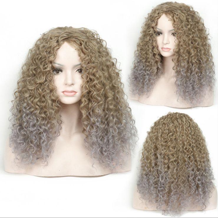 时尚化纤高温丝非美长发小卷假发发套热销款 厂家现货批发 curly