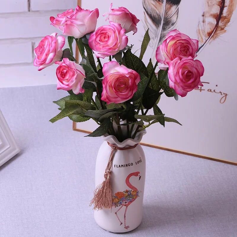 高档单支手感保湿玫瑰 仿真花婚庆用品 客厅摆件拍摄道具假花批发