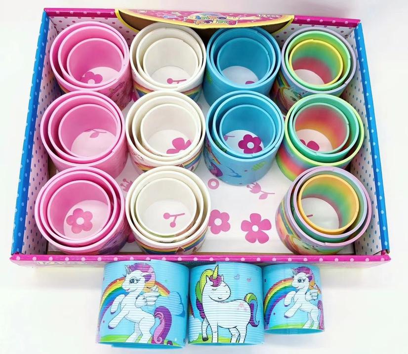 彩虹圈儿童宝宝益智早教弹力弹簧圈圈套叠叠杯叠叠乐玩具独角兽套装