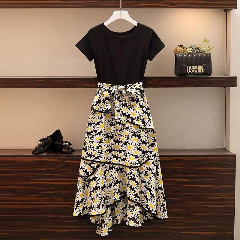 2020加大码女装夏季新款遮肚显瘦裙子微胖妹妹时髦洋气减龄连衣裙