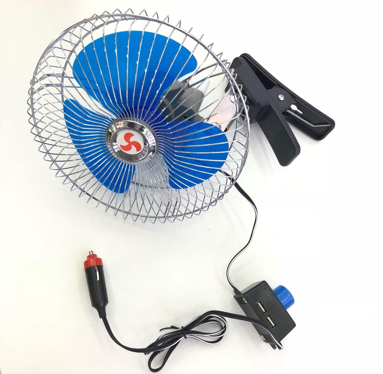 车载风扇汽车用电风扇12v 24伏货车车内车上用的小吊扇制冷大风量