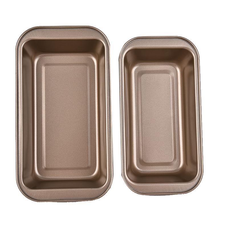 加厚碳钢方型烤盘金色方盒托盘面包烘焙盘烧烤盘烘焙工具厂家批发