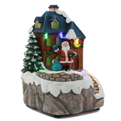 LED彩灯圣诞装饰礼品旋转乡村房子模型