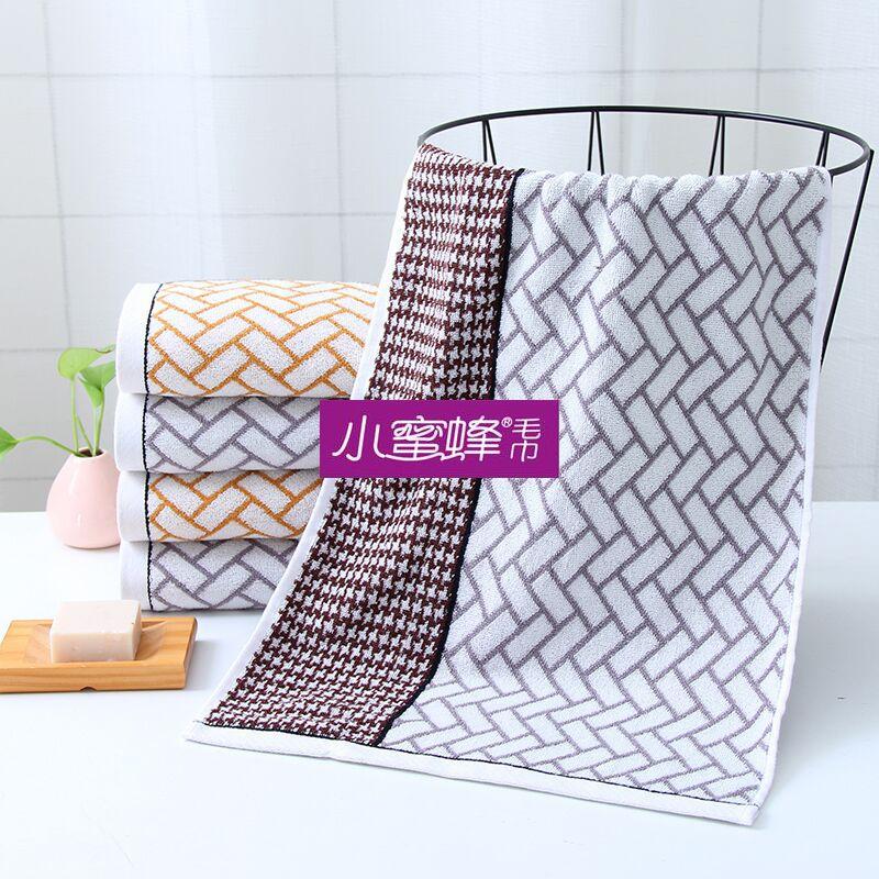 小蜜蜂毛巾 纯棉股线格子毛巾