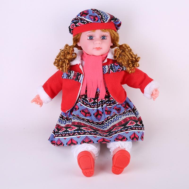 24寸仿真娃娃玩具婴花裙子红色外套搪胶宝宝洋娃娃女孩童娃娃