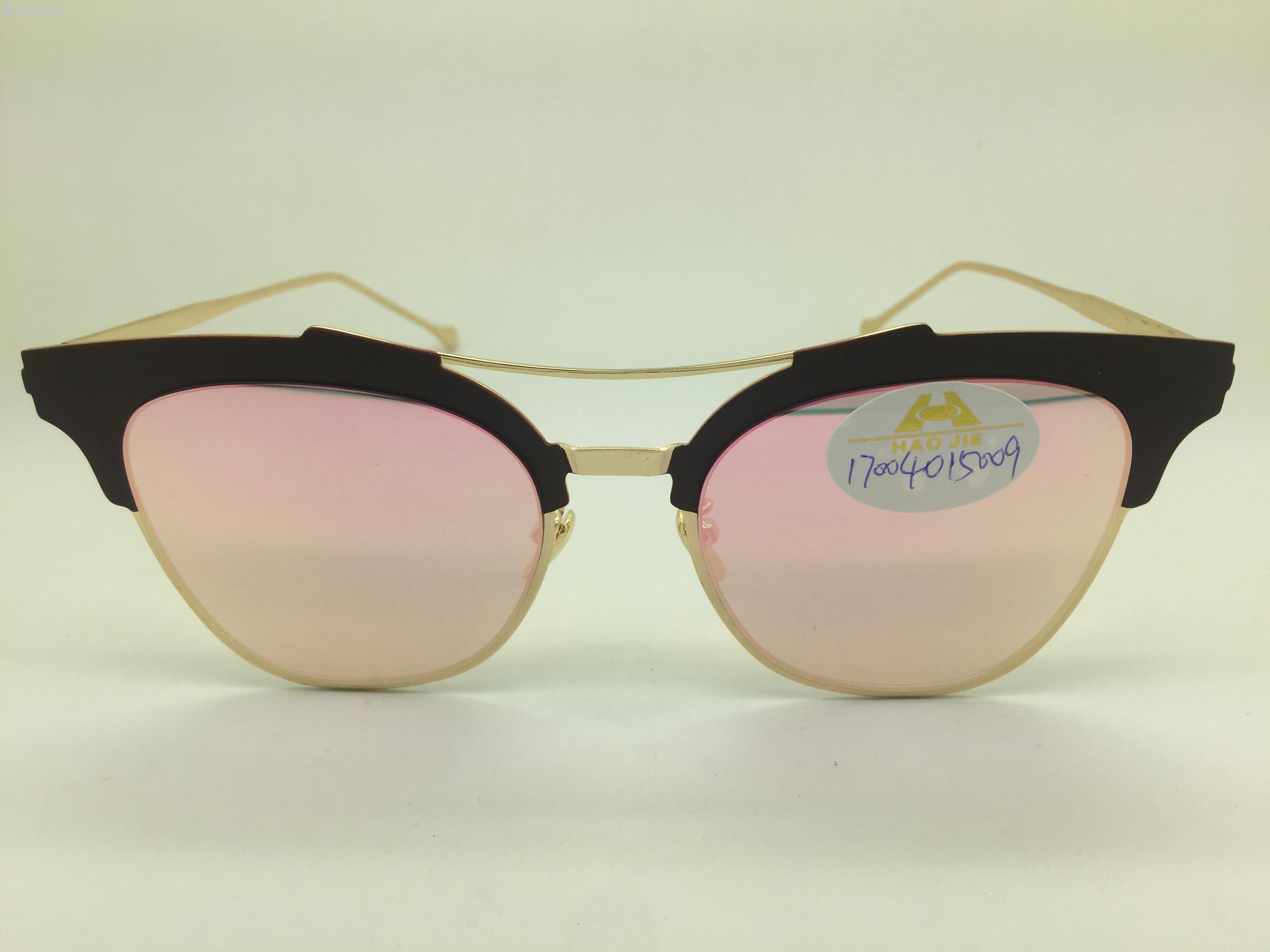 义乌好货 时尚猫眼塑料眉金属框架彩色片太阳镜墨镜