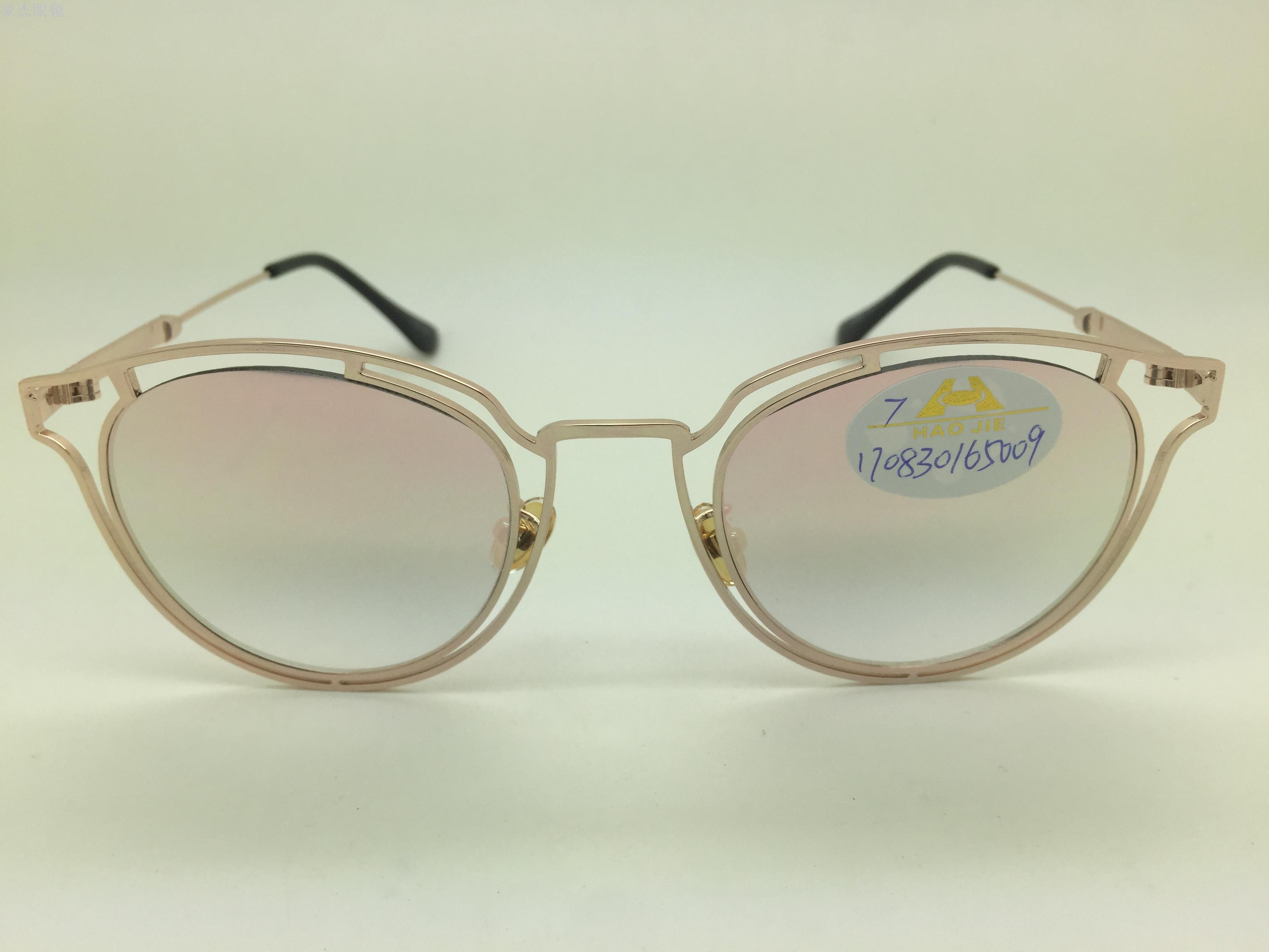 义乌好货 时尚猫眼镂空圆框彩色片金属太阳镜墨镜