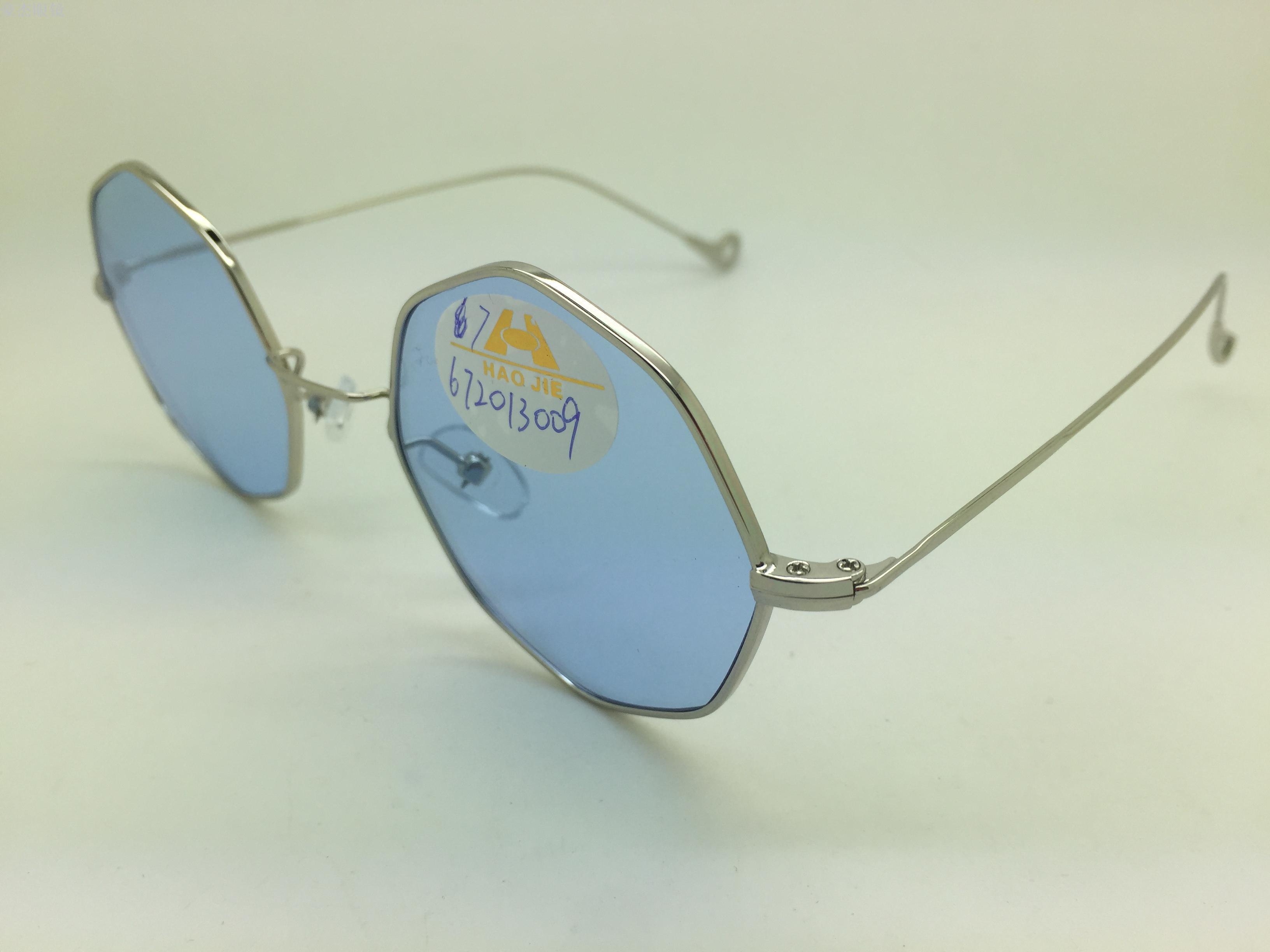 义乌好货 欧美风小框半透明菱形彩色片潮流时尚细框金属太阳镜