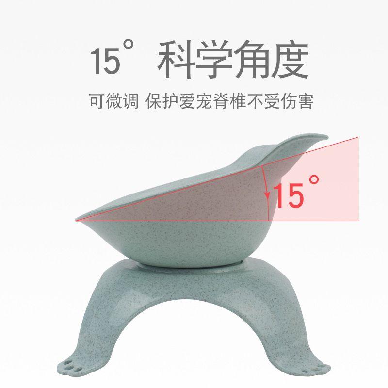 宠物碗猫咪用品 透明倾斜猫食盆猫碗 防滑护颈猫耳朵塑料猫咪单碗