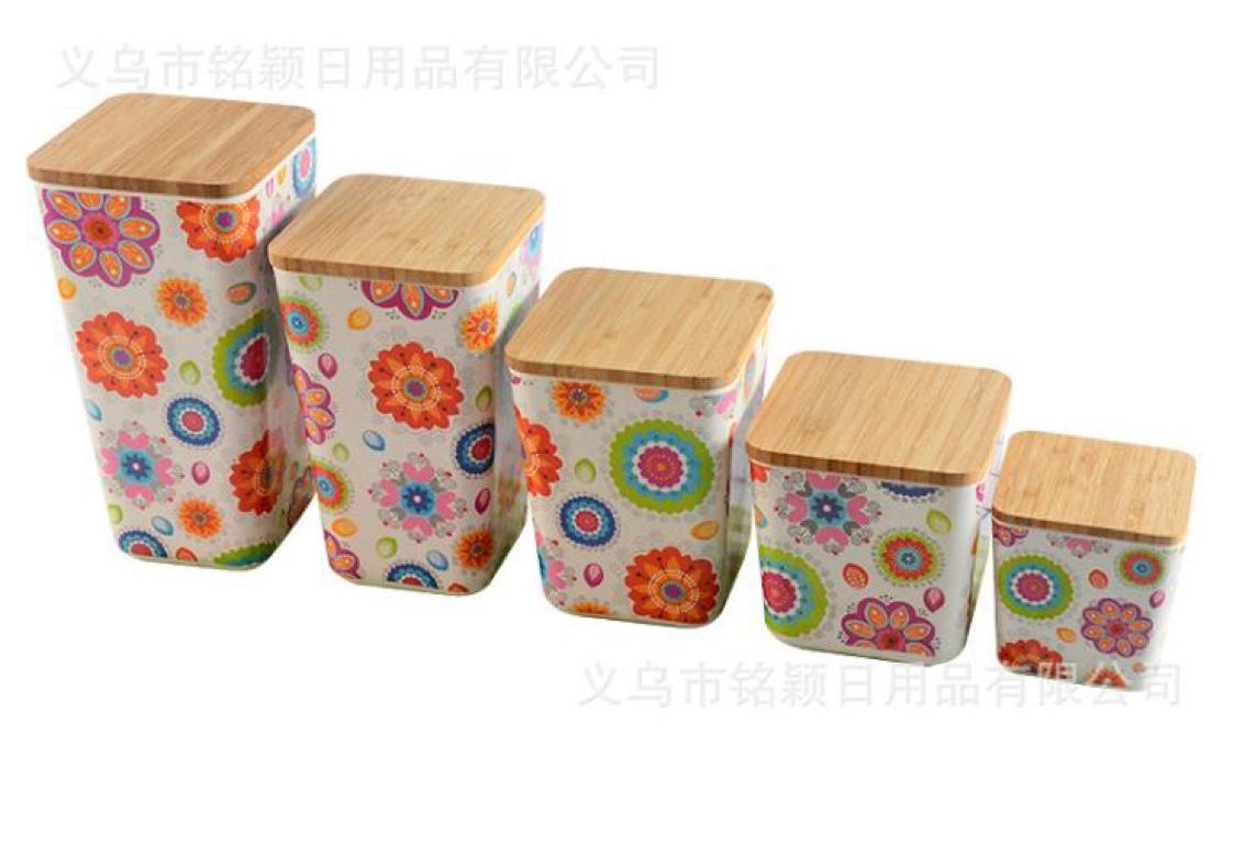 环保可降解竹纤维 竹盖密封储物罐 小号