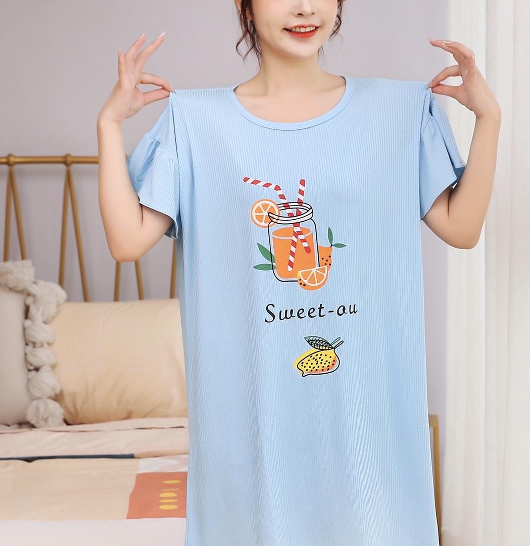 睡衣女夏短袖冰丝条韩版学生可爱卡通纯棉睡裙女2020年新款