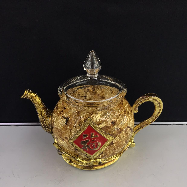 达达水晶   D区3楼二街7870  水晶摆件 70金泊茶壶